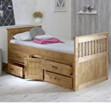 Happy Beds Captains Wooden Waxed Pine Storage Bed Drawers Cupboard Bedroom Furniture