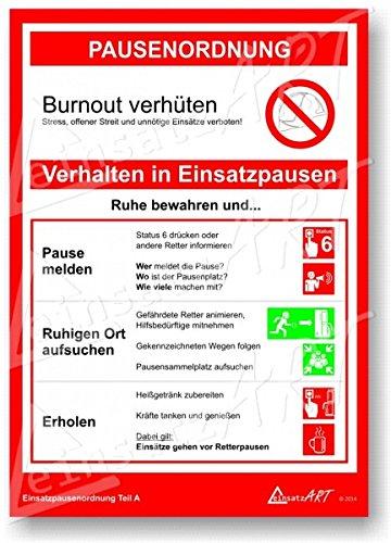 einsatzART-Poster A4 ,,Pausenordnung Teil A' Feuerwehr & Rettungsdienst