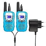 Upgrow RT-388 Walkie Talkie Funkgerät für Kinder mit Wiederaufladbaren Akkus, Funkhandy Kinder Funkgerät, 8 Kanle mit LC-Display, Reichweite bis zu 2-3 Km(Blau)