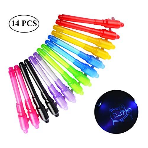TOYESS 14 Stück Geheimstift mit UV-Licht für Jungen & Mädchen, Zauberstifte Unsichtbar Schreiben Lesbar durch Licht UV Stift Mitgebsel Kindergeburtstag -