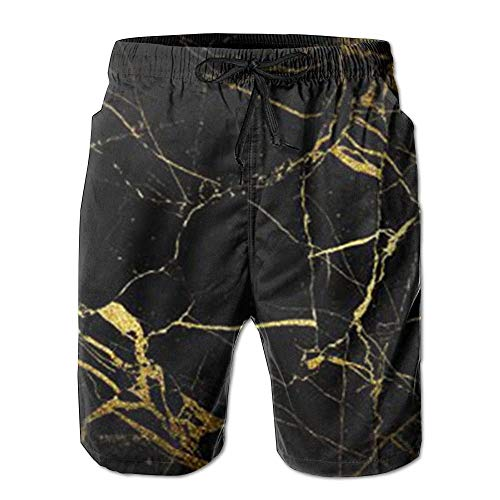 Qfunny New Gold and Black Wallpaper Summer Suit Men's Beach Pants with Pockets Herrenshorts am Strand