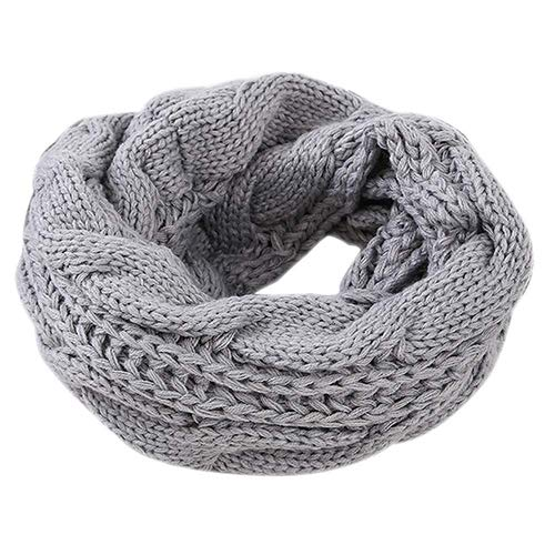 Winter Dick Gerippte Knirschend Warmes Kreischal Dicken Kragen,Lightgray (Knit Circle Scarf)