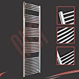 500mm(w) x 1800mm(h) Curved Chrome Heated Towel Rail, Radiator, Warmer 3012 BTUs Bathroom Central Heating Ladder Rail (Horizontal Bar Pattern: 4-5-6-7-11)