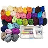 36 Farben Filzwolle Set mit Trockenfilzen Nähset Märchenwolle Filznadeln Werkzeug Starter Kit für Nadel Filz DIY Handwerk