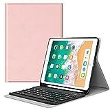 MoKo Funda para iPad 9.7 2018 Teclado, Cubierta con Soporte para Apple Pencil, Protector de Teclado Inalámbrico para Apple iPad 9.7 Pulgadas 2018 (A1893 / A1954), Rosa Oro