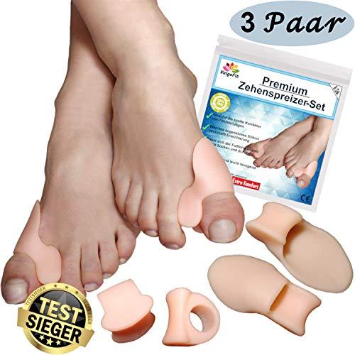 6x Zehenspreizer gegen Hallux Valgus mit Ballenschutz von Spring One, Bandage Korrektur, Softgel-Silikon Zehentrenner Schiene für Damen und Herren