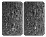 Wenko 2521499100 XL-Herdabdeckplatte Universal Schiefer, 2er Set, extra groß, Kochplattenabdeckung und Schneidebrett für alle Herdarten, 40 x 1.8-4.5 x 52 cm, multicolor, Gehärtetes Glas