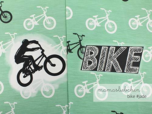 Mamasliebchen Jersey-Stoff Bike #Jade (1Panel, ca 0,65m) Fahrrad Bike Panel - Baumwolle Knitterfrei Kleid Shirt