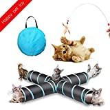 JIN CAN Cat Tunnel Toy, Upgraded Collapsible 4 Way Pet Play Tunnel Tube Storage Bag & Cat Toys Feather Wand, Dogs, Rabbits, Guinea Pig, Indoor/Outdoor Use ... (4 links, 132 * 53 * 26)