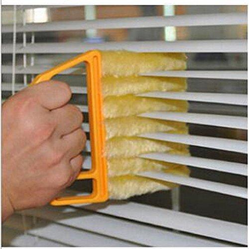 zooarts enrollable de microfibra plumero polvo cepillo para ventana de persianas de ventilación de aire acondicionado, colector de polvo gamuza de limpieza herramienta