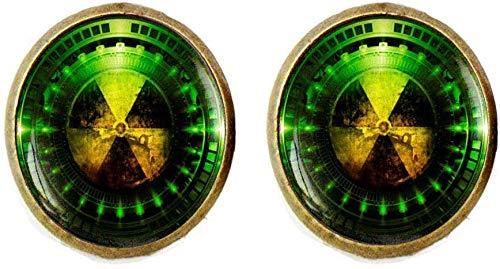 Gemelos con símbolo de peligro de radiación
