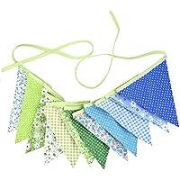 eBoot Bello Tessuto Floreale Gagliardetto Ghirlanda Pennant Bunting 12 Bandiere Doppio Lati Matrimonio Party Banner 10 Piedi, Verde e Blu