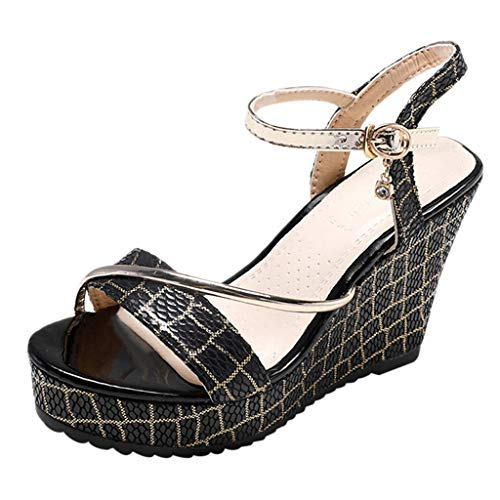 Mitlfuny Damen Sommer Sandalen Bohemian Flach Sandaletten Sommer Strand Schuhe,Frauen-Plattform-Keil-wasserdichte Sandelholz-Absatz-Schuh-Rutschfeste Sandelholz-Schuhe - Frauen-plattform Für Qupid Sandalen