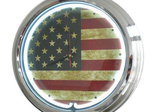 Neon Uhr USA - Flagge Wanduhr Deko-Uhr Leuchtuhr USA 50's Style Retro Uhr Neonuhr