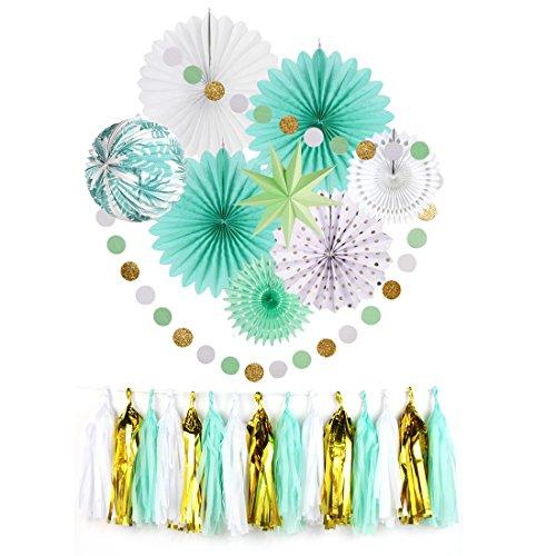(Easy Joy Party-Accessories Kit Türkis Fächer-Deko Lampion Papier Stern Tassel Girlande (Mint))