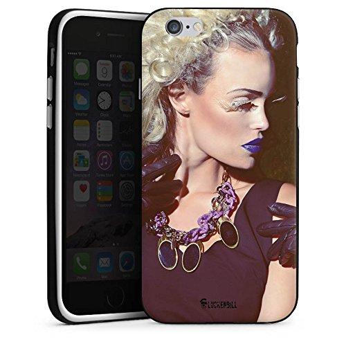 Apple iPhone 5s Housse Étui Protection Coque Femme Femme Rouge à lèvres Housse en silicone noir / blanc