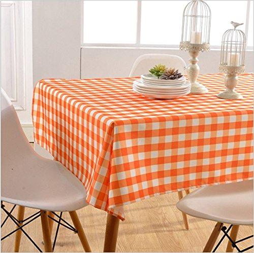 asvert nappe rectangulaire anti taches carreaux table toile cire pour restaurant salle manger carreaux orange 130x180cm amazonfr jardin - Toile Ciree Pour Table De Jardin