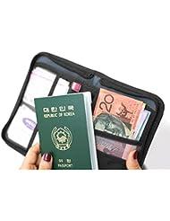 Mofun® Voyage noir portefeuille Idéal pour passeport/Téléphone portable/cartes de crédit/billets/Cash, etc.