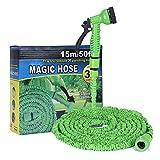Hakkin Gartenschlauch, 7 in 1 Spritzpistole mit Dehnbarer Schlauch Garten Wasserschlauch Flexible Magic Schlauch Einstellbaren Schlauch Düsen 7 Muster Hochdruckreiniger