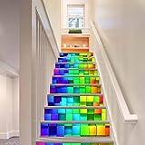 YYH Autocollants pour escaliers Créatif 3D Stéréoscopique Coloré cube DIY Imperméable Fond d'écran Combinaison Mural Étapes du couloir Art Decals , 1 Set 18 pcs , 100*18cm