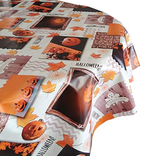 DecoHomeTextil Wachstuch Tischdecke RUND OVAL Farbe & Größe wählbar Halloweentsichdecke Halloween Weiss 130 x 280 cm Oval abwaschbare Wachstischdecke