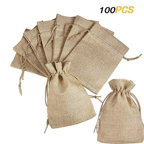 XUTONG 100pz Sacchetti Portaconfetti in Tela Bustina Bomboniere Confetti Piccoli per Matrimonio Battesimo Compleanno Regalo Gioielli 9x7cm