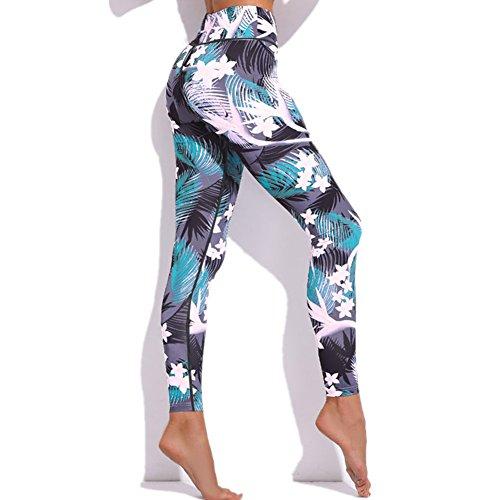 Morbuy Damen Leggings, Sport Gym Yoga Workout Pants Basic Fitness Hohe Taille Jogginghose Trainingshose Skinny Hosen Hose Sporthose (XL, Weiße Blumen)