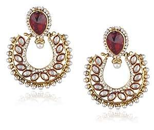Ava Traditional Drop Earrings for Women (Red) (E-VS-053)