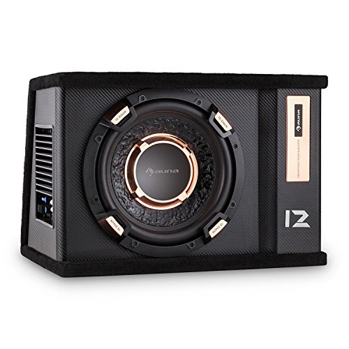 auna SUB12G Bassbox Auto-Subwoofer für Kofferraum Basskiste (30cm Tieftöner, 500 Watt, integr. Class A-B Verstärker, Bassreflex-Bauweise, Filz-Bespannung) schwarz