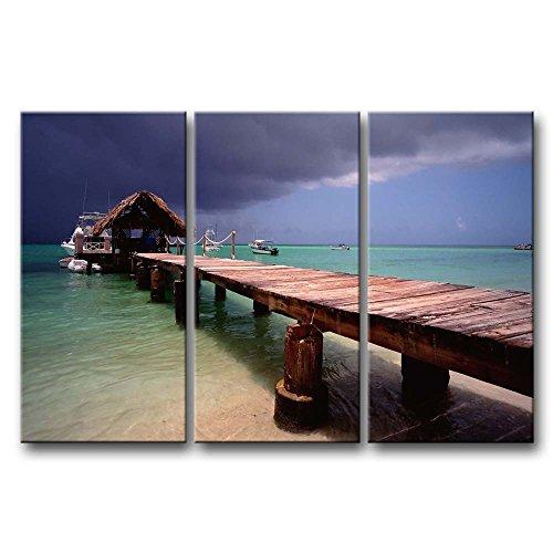Leinwand Kunstdruck Wandbilder Bild Pigeon Point Tobago Strand Bridge Licht Blau Wasser 3Stück Gemälde Moderne Giclée-gespannt und gerahmt Artwork Öl der Seascape Bilder Foto Prints auf Leinwand