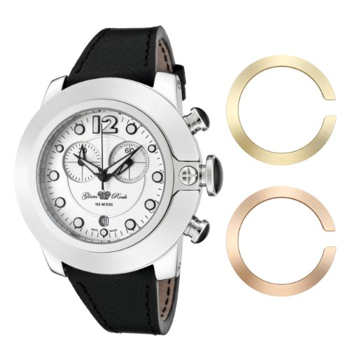 Glam Rock Women's GR32155 SoBe Chronograph White Dial Black Leather Watch