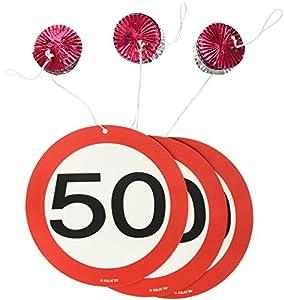 Conjunto de 3 rotor espiral cumpleaños número 50, Garland, señal de tráfico 05133