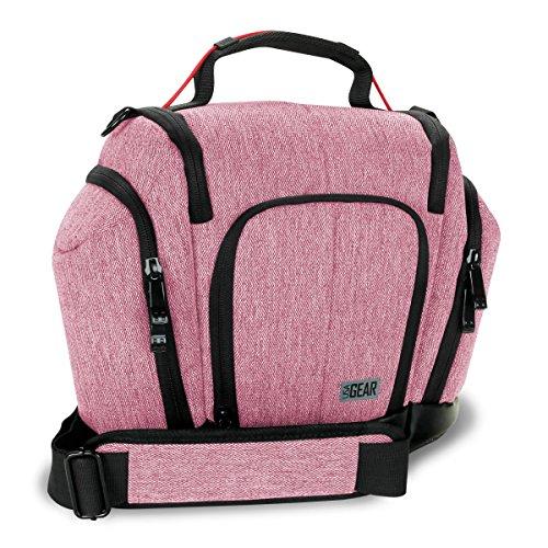 USA Gear Kompakte Kameratasche für Spiegelreflexkameras (DSLR Sling Bag) mit wetterfestem Boden, gepolsterten Innen- und Seitenfächern, Rot -