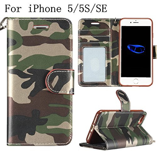 iPhone SE/5/5S Wallet Case,Heyqie(TM) Army Camouflage Premium Leather Folio Case Wallet and Kickstand Function Magnetic Closure Protective Shell Wallet Case Cover for Apple iPhone SE 5S 5 - Rose Green