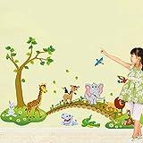 Pingxia Dschungel Wandtattoo Niedlich Tier Wandaufkleber Abnehmbare Wandsticker für Kinderzimmer Schlafzimmer Wohnzimmer Test
