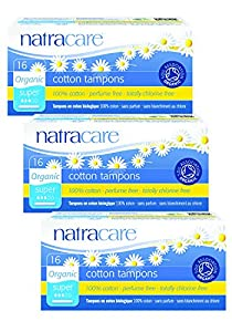 PACK of 3 Natracare Organic Cotton Applicator Tampons Super