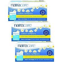 Set de 3 Natracare de ducha de algodón orgánico aplicadora para productos tampones con enganche para