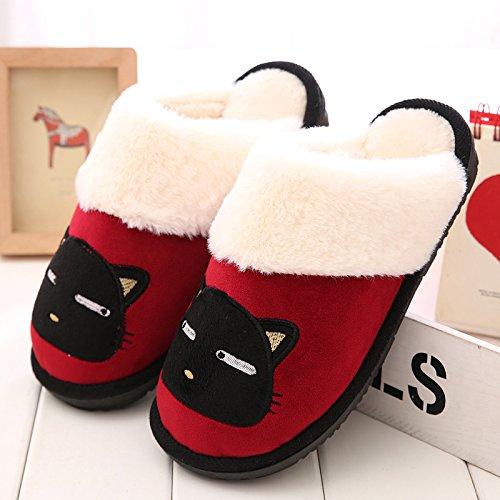 DogHaccd pantofole,Pantofole di cotone femmina maschio coppie cadono spesso soggiorno invernale home in inverno con pantofole di peluche carino Il vino è di colore rosso2