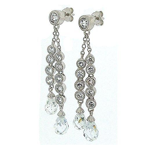 Toc argento Sterling chiaro strass doppio filo Orecchini pendenti lunghi - Strass Strand Orecchini