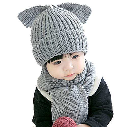 Huichao Garçon Hiver Fille garçon, Chapeau écharpe, Bonnet en Tricot,Gray