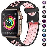Maledan Cinturino Compatibile con Apple Watch Cinturini 42mm 44mm, Cinturino di Ricambio in Silicone Morbido Fori Traspirantiper iWatch Series 5 4 3 2 1, Nero/Rosa, S/M