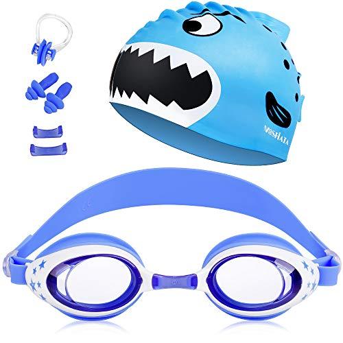 MOSFiATA Schwimmbrille Kinder, Schwimmbrillen Set Taucherbrille & Elastische Badekappe & Ohrstöpsel & Nasenaufsätze UV-Schutz Anti-Fog Anti-Leck, Geschenk für Mädchen Jungen