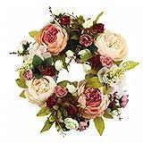 Sincek Couronne de fleurs printanières Vert/rouge/rose