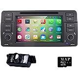 hizpo 7pulgadas, Quad Core Android 5.1Lollipop estéreo a doble DIN para radio de coche BMW E46Soporte de la serie SWC de navegación GPS Radio de coche Audio Video iPod WiFi 3G USB, SD, Cam-in OBD2DAB +