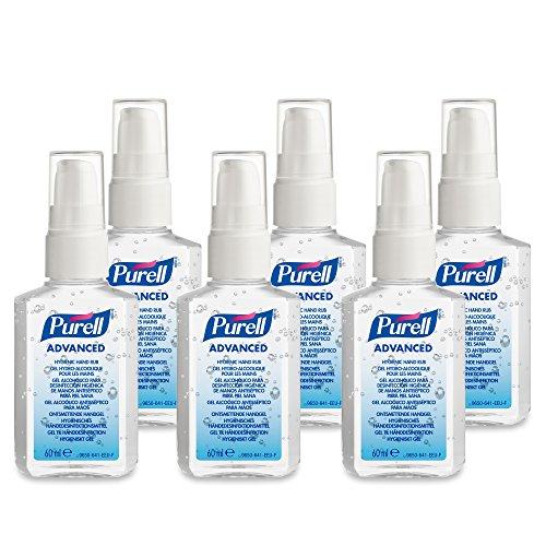 Desinfektionsmittel Gel (PURELL Advanced Hygienisches Händedesinfektionmittel - Händedesinfektionsgel in praktischer Größe für Unterwegs - (6 x 60ml Pumpflasche))