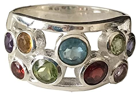 Solid 925 Sterling Silver Antique Natural 9 Stones Garnet, Amethyst, Peridot, Citrine, Blue Topaz Ring Sizes M, O, Q, T (O)