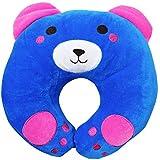 Ineffable Cute Baby Pillow U Shape Headrest Cartoon Design Kids Baby Pillow Neck Protector (Blue, Pink)