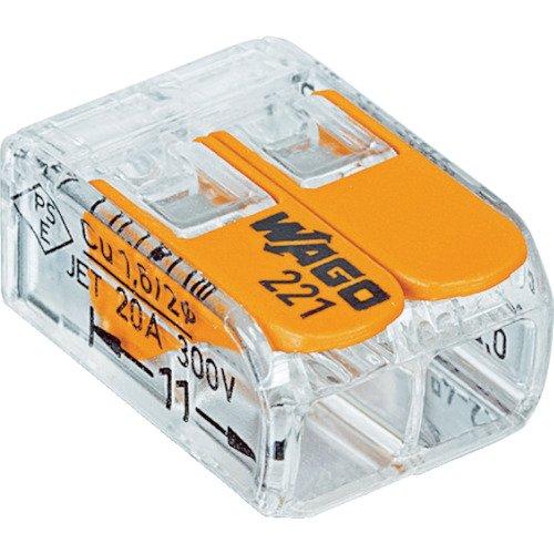 Wago 221-412 Verbindungsklemme 2 Leiter mit Betätigungshebel 0,2-4 qmm kleine Bauform, transparent, 100 Stück