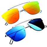 #1: Younky Unisex Combo offer Pack of UV Protected Cateye Stylish Golden Mercury Sunglasses For Men Women Boys & Girls ( DIGYM-DISBM|55|Golden ) - 2 Sunglass Case