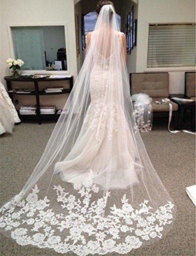 Outstanding 3 metros Long Tulle accesorios de la boda Catedral velo de la boda con velos de novia de peinado